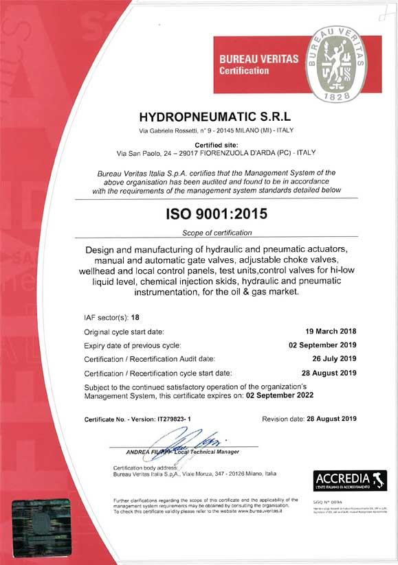 Certificate ISO:9001 HYDROPNEUMATIC